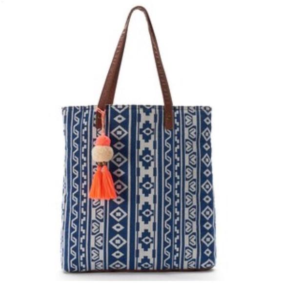 Mudd Bags Blue Boho Festival Tribal Design Tote Bag Nwt